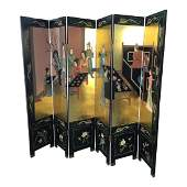 ASIAN GOLD BLACK CARVED 6 PANEL FOLDING SCREEN