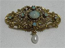 14K Y GOLD ART BROOCH W OPAL STONES  PEARL DROP