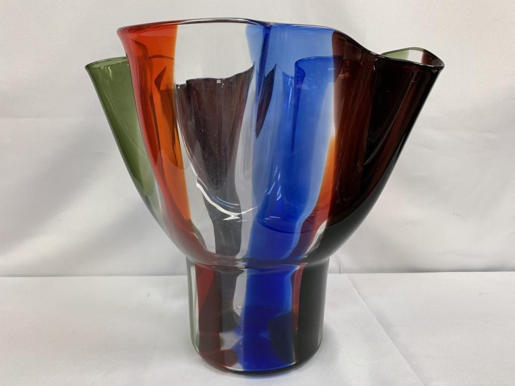 HUGE VENINI MURANO RUFFLED GLASS BOWL SARPANEVA
