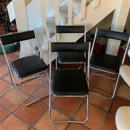 Pleasant Set Of 4 Black Chrome Nevco Folding Chairs Onthecornerstone Fun Painted Chair Ideas Images Onthecornerstoneorg