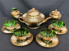 TREFOUCHI 11PC TEA SET MURANO GREEN GLASS