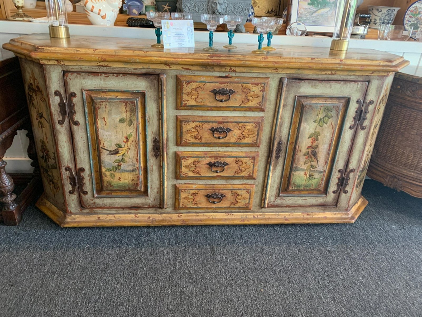 Country Shabby Chic Distressed Buffet Console