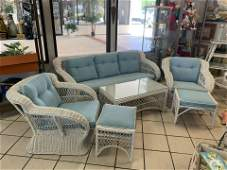 COASTAL VINTAGE WHITE WICKER COUCH CHAIR TABLE SET