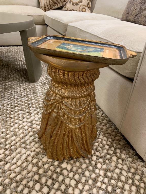 VINTAGE CURTAIN PULL GOLD SIDE ETAGERE TABLE