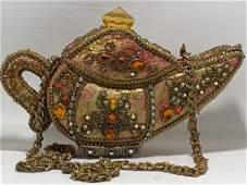 EXOTIC MARY FRANCES BEADED TEAPOT GENIE LAMP PURSE