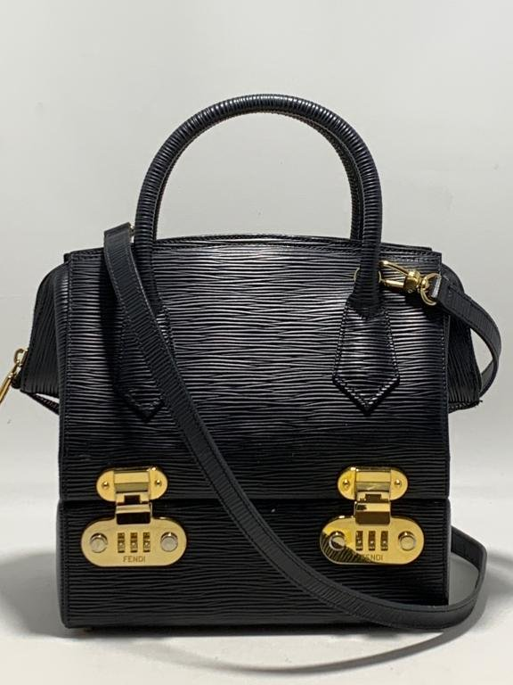 FENDI TEXTURED BLACK LEATHER SECTIONED PURSE BAG