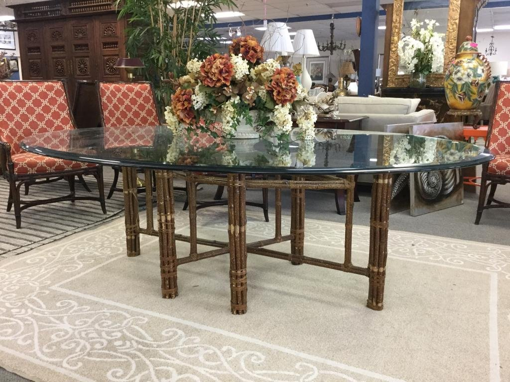 MID CTY MCGUIRE RAWHIDE WRAPPED BAMBOO GLASS TABLE