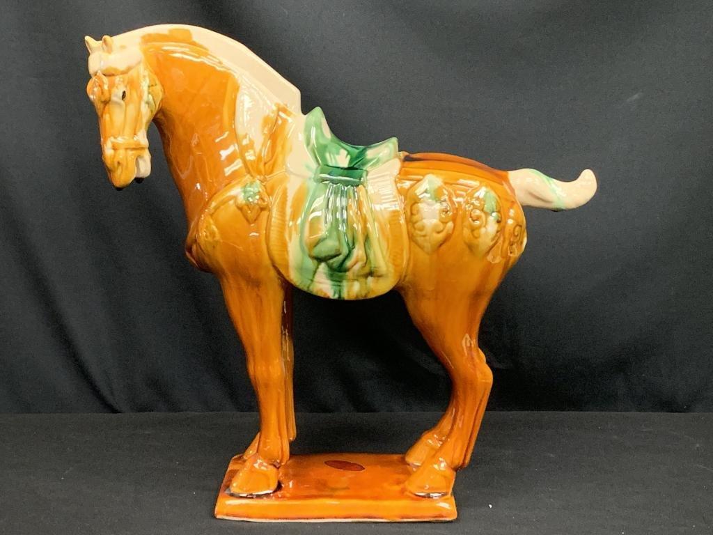 VINTAGE CHINA CERAMIC HANDPAINTED SADDLED HORSE