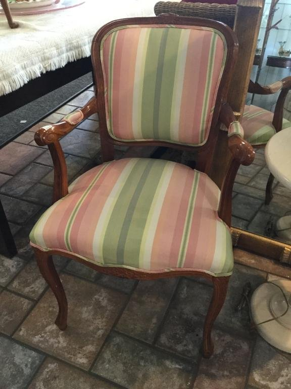HOLLYWOOD REGENCY STYLE STRIPED WOOD FRAME CHAIR