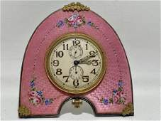 ANTIQUE FRENCH ENAMEL STERLING GUILLOCHE CLOCK