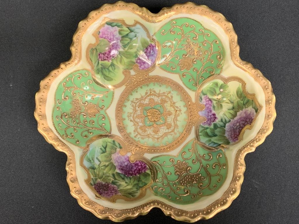 IE&C JAPAN HANDPAINTED MORIAGE GREEN FLOWER BOWL