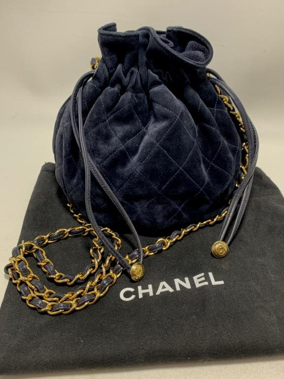 CHANEL NAVY BLUE SUEDE LEATHER HOBO BAG PURSE