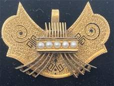 VICTORIAN 14KT GOLD OWL FACE PIN W SEED PEARLS