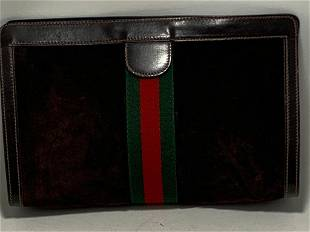 GUCCI BROWN SUEDE AND LEATHER CLUTCH BAG