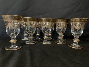 9 ITALIAN CRYSTAL AND GOLD WATER GLASSES
