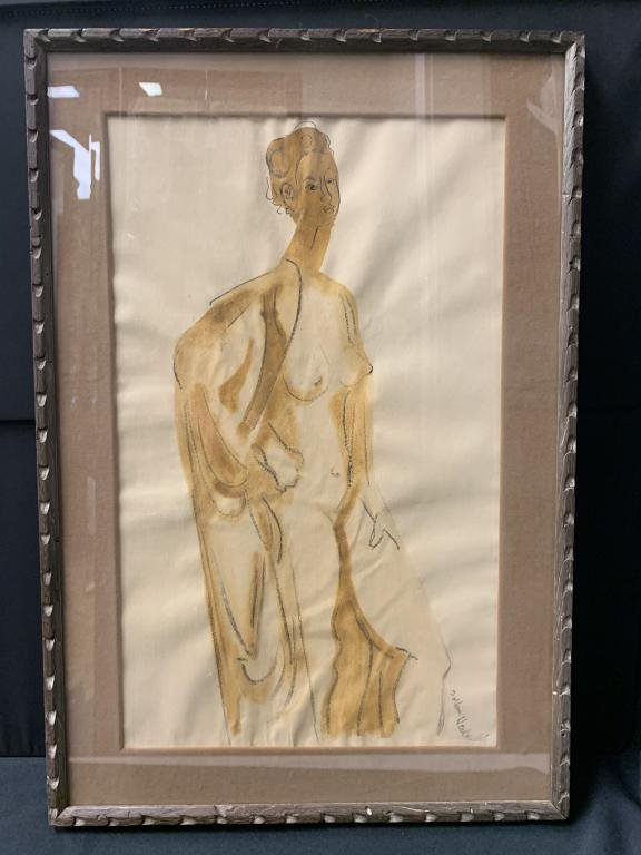 ZOLTAN HEDRT 60'S FRAMED NUDE WATERCOLOR ART