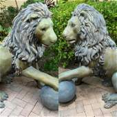 PAIR BRONZE LARGER THAN LIFE 4FT TALL LION STATUES