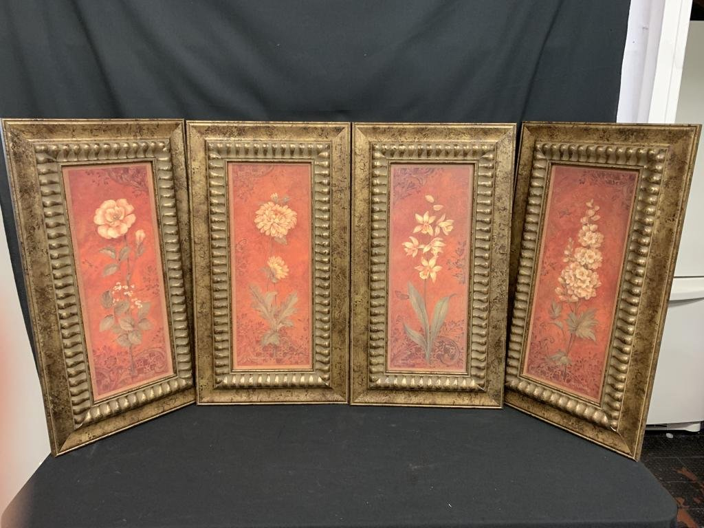 4 PANEL FLORAL ART FRAMED QUADTYCH GICLEE PRINT