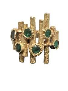 14K YELLOW GOLD EMERALDS BOLD BAMBOO ART RING