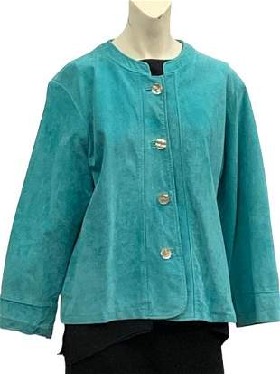 DAVID DART COLL TURQUOISE SUEDE LEATHER JACKET LRG