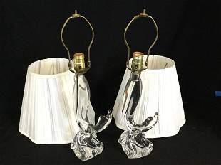 PAIR OF DAUM FRANCE CRYSTAL LAMPS