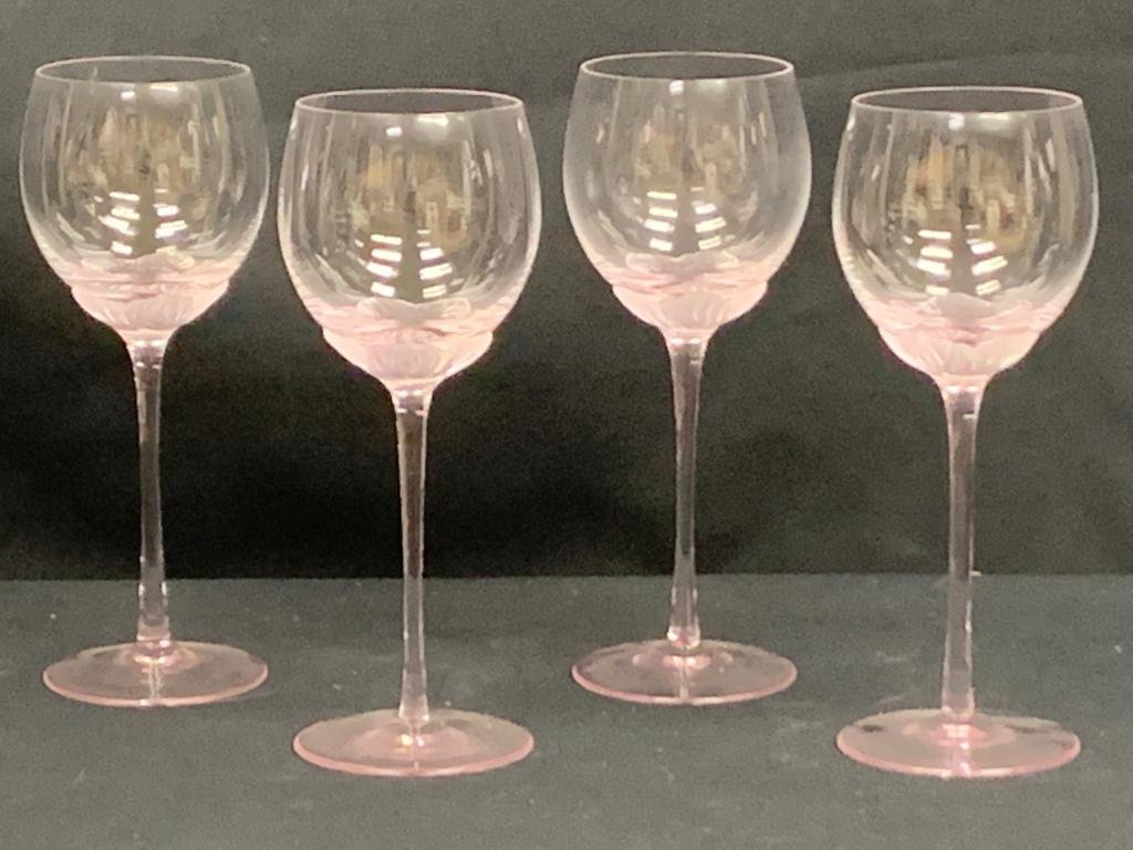 LALIQUE STYLE ORCHID BOTTOM CRYSTAL WINE GLASSES 4