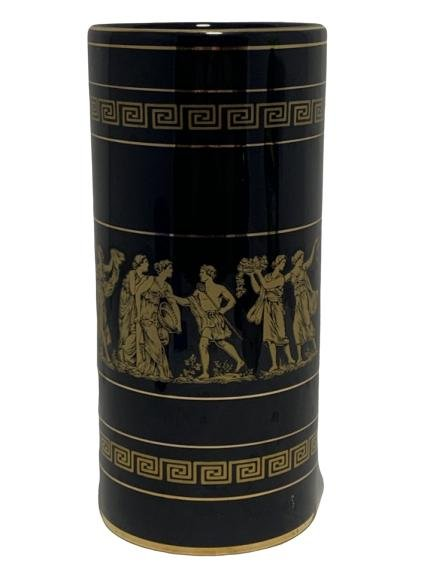 M.T BLACK GRECIAN VASE TRIMMED IN 24K GOLD
