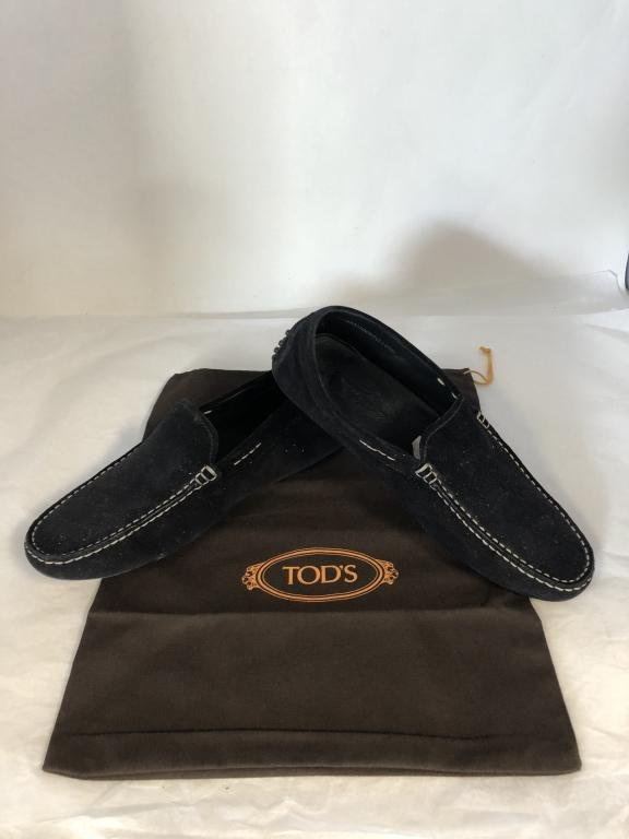 TOD'S BLACK SUEDE LEATHER LOAFERS SHOES MENS 9