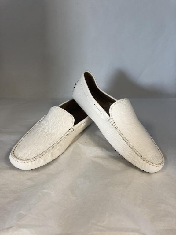 NEW TOD'S WHITE PEBBLE LEATHER LOAFER SHOES MENS 9