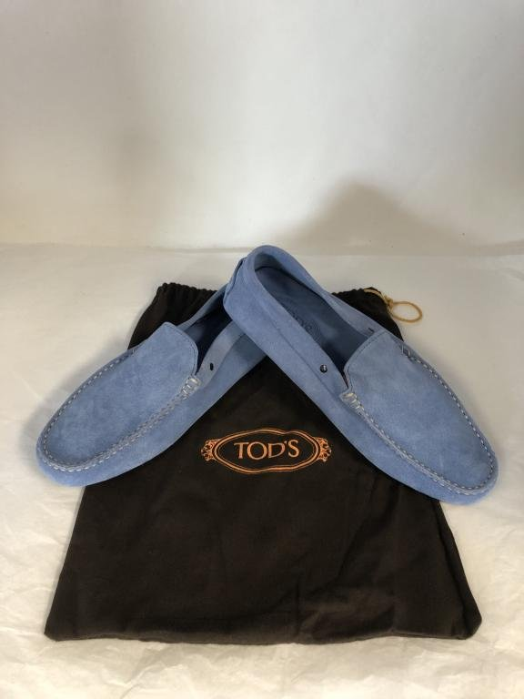 NEW TOD'S BLUE SUEDE LEATHER LOAFER SHOES MENS 9