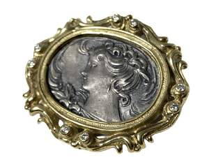 VICTORIAN 14KT YLW GOLD DIAMOND CAMEO LADY PIN