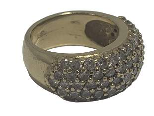 14K YLW GOLD DIAMOND ENCRUSTED FRONT BAND RING 6