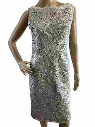 TONY WARD COUTURE SILVER LEATHERETTE LACE DRESS S