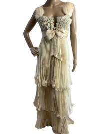 TONY WARD COUTURE FEATHER & FAN BEAD TRAIN GOWN S