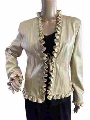 ST JOHN COLLECTION GOLD LEATHER WRUFFLE JACKET 4