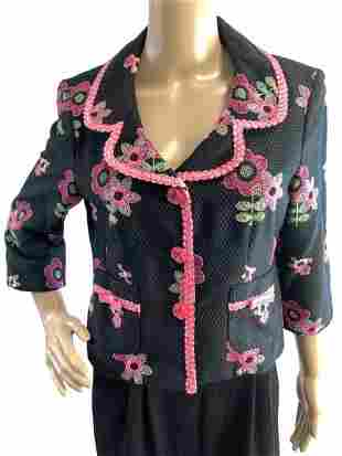 CYNTHIA STEFFE EMBROIDERED BLACK PIQUE JACKET M