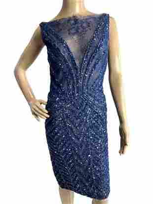 TONY WARD PRET A PORTER BLUE LACE ILLUSION DRESS S