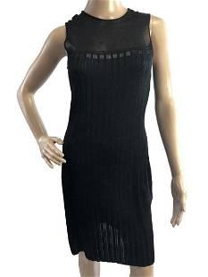 ALBERTA FERRETTI ITALY BLACK RAYON SWING DRESS S