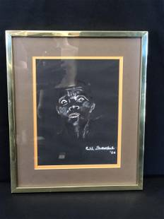 RUTH LEE LEVENTHAL 1962 CHALK ON BLACK SCARED FACE