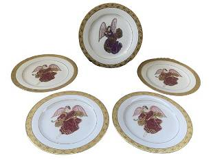 MUIRFIELD CELEBRITY GOLD TRIM WING ANGELS PLATES 5