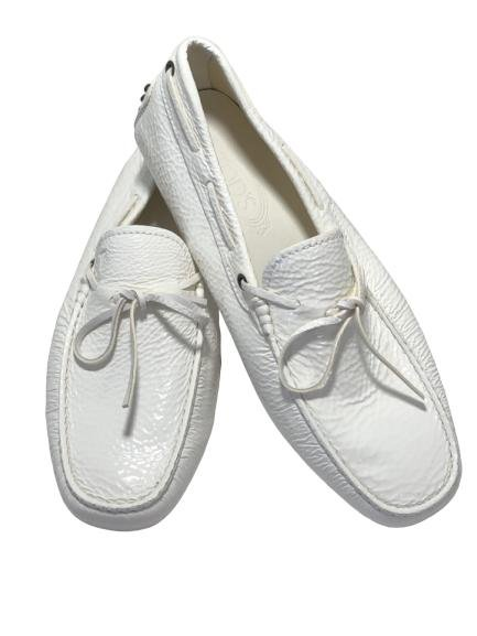 TOD'S ALL WHITE LEATHER LOAFERS SHOES MEN'S US 8
