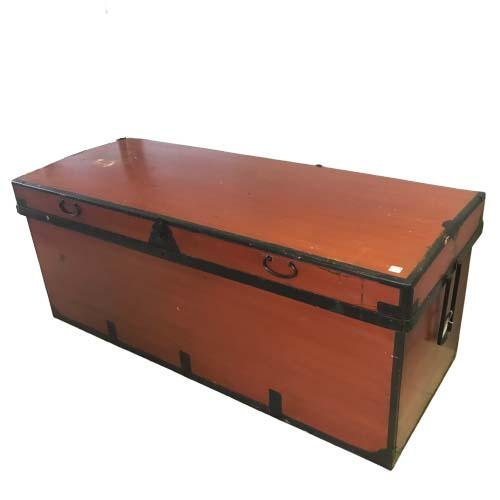 EXTRA LARGE VINTAGE RED WOOD TRAVEL TRAIN TRUNK