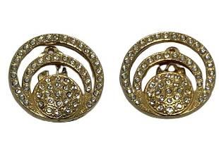 ZOE COSTE PARIS GOLD RHINESTONE CIRCLE EARRINGS