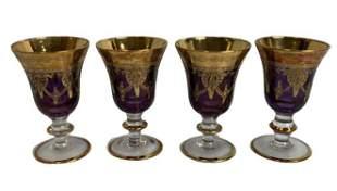 4 RIGIBI PRODUCTION AMETHYST WINE GLASSES