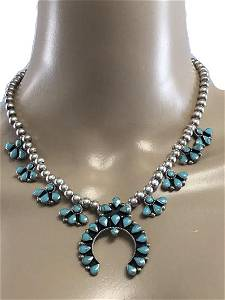 VINTAGE GORGEOUS STERLING AND TURQUOISE NECKLACE