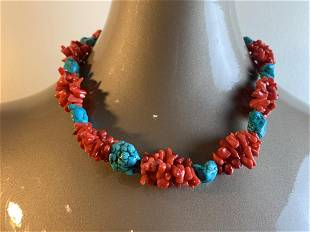VINTAGE FAUX CORAL AND TURQUOISE NECKLACE