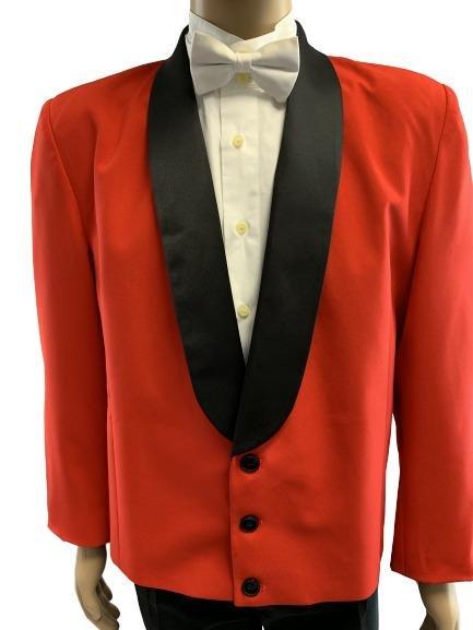HENRY SEGAL BOLD RED W/ BLACK LAPEL TUX JACKET 44R