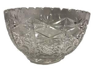 HEAVY LARGE CUT GLASS CRYSTAL BOWL 115 d x 65h