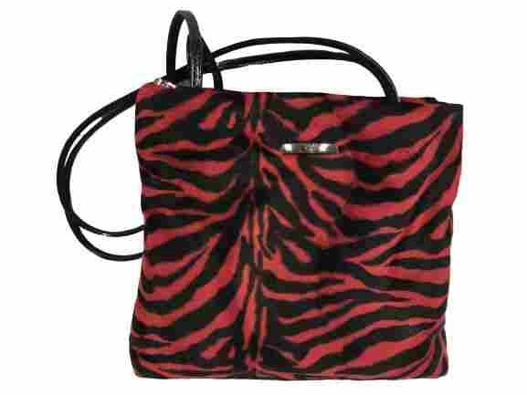 YVES CARRUEA RED/BLACK ZEBRA SHOULDER BAG