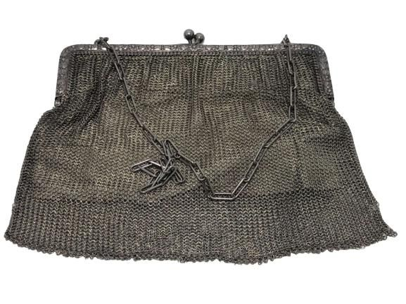 LARGE SILVER MESH LINED EVENING BAG